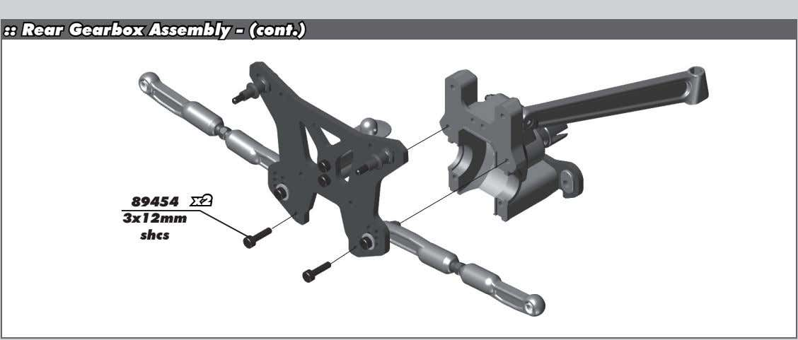 :: Rear Gearbox Assembly - (cont.) 89454 x2 3x12mm shcs