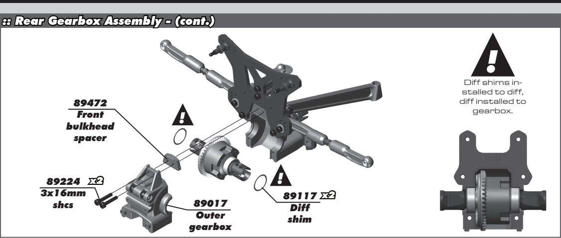 :: Rear Gearbox Assembly - (cont.) ! 89472 Diff shims in- stalled to diff, diff
