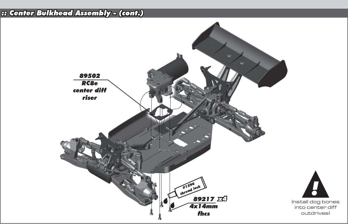 :: Center Bulkhead Assembly - (cont.) 89502 RC8e center diff riser ! 89217 x4 4x14mm