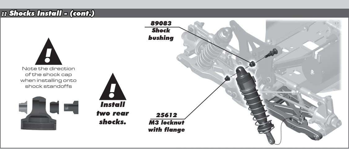 :: Shocks Install - (cont.) 89083 Shock bushing ! Note the direction of the shock