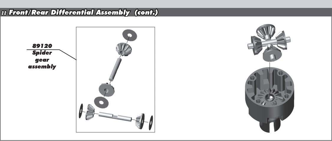 :: Front/Rear Differential Assembly (cont.) 89120 Spider gear assembly