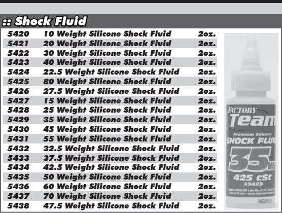 :: Shock Fluid 5420 10 Weight Silicone Shock Fluid 2oz. 5421 Weight Silicone Shock Fluid