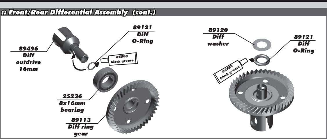 :: Front/Rear Differential Assembly (cont.) 89121 89120 Diff Diff 89121 O-Ring washer Diff 89496 O-Ring