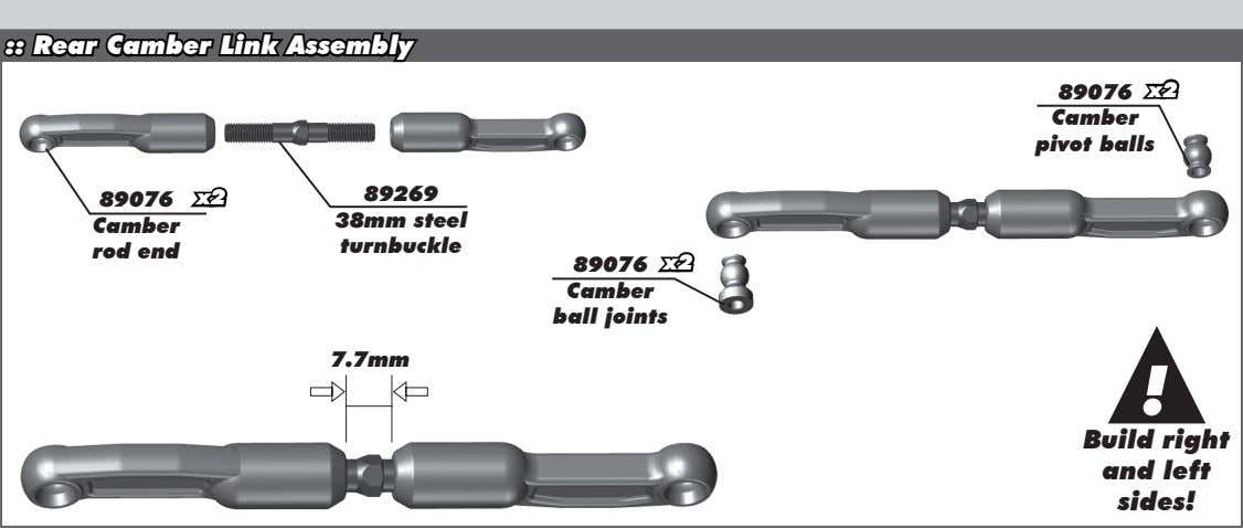 :: Rear Camber Link Assembly 89076 x2 Camber pivot balls 89269 89076 x2 38mm steel