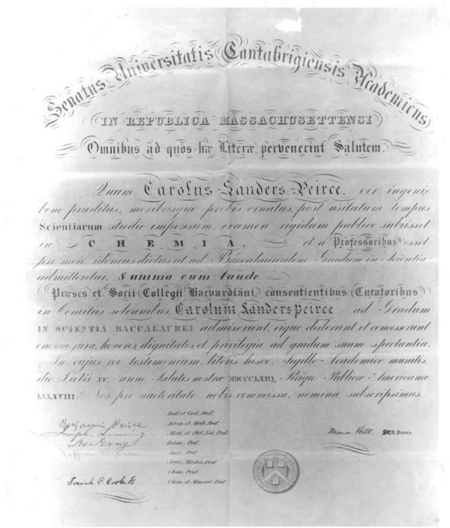 Diploma (Summa cum Laude) of Charles S. Peirce from the Lawrence Scientific School (a graduate