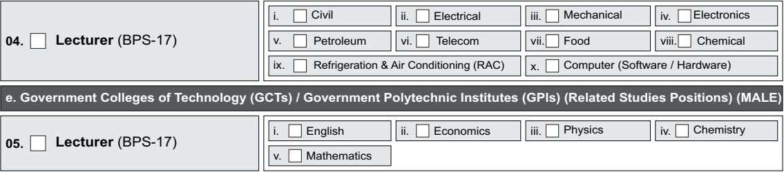 i. Civil ii. Electrical iii. Mechanical iv. Electronics 04. Lecturer (BPS-17) v. Petroleum vi. Telecom