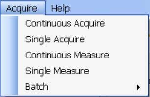 of all spectra and results to a central file. Acquire Menu Acquire > Continuous Acquire (Measure