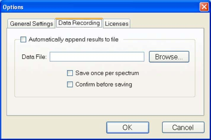 The Data Recording tab allows for automatic saving of all spectra and results to a