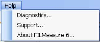 Help Menu Diagnostics The diagnostics window gives information regarding the data taken during baseline routine. Ref-
