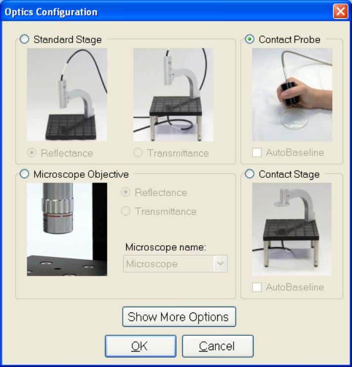 Optics Configuration and select standard stage with transmittance option. Setup menu. Optics Configuration dialog box.