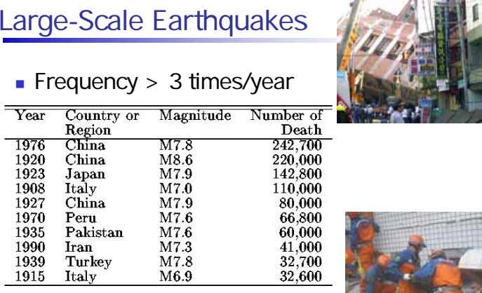 Large-Scale Earthquakes Frequency > 3 times/year