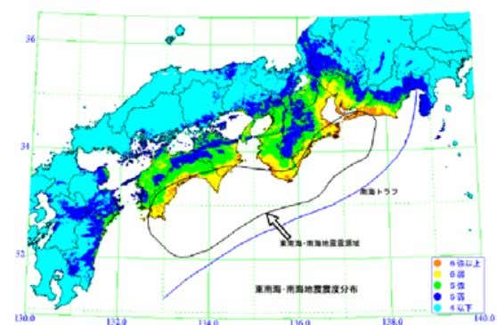 Seismic Intensity Predicte d (Nankai + To-Nankai) (Cabinet Office, Central Disa ster Prevention Committee, To-Nankai