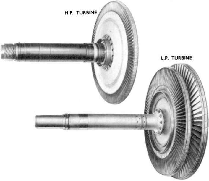 Figure 7.1 Axial flow turbine rotors. (Courtesy Rolls-Royce.) (multi-stage turbine) or to exit (single-stage turbine).