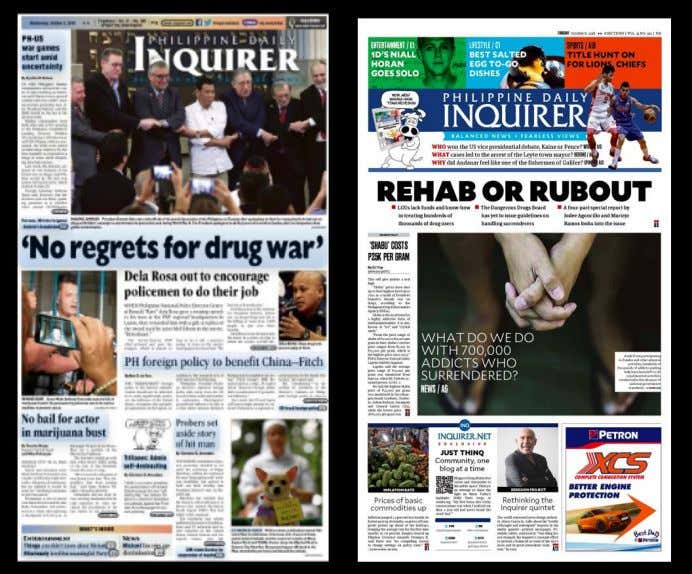 page   to the right is Inquirer after the redesign. Figure 3. The old and new