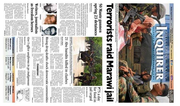 present elements usually found in the PDI broadsheet. Figure 1. The August 29, 2016 front page