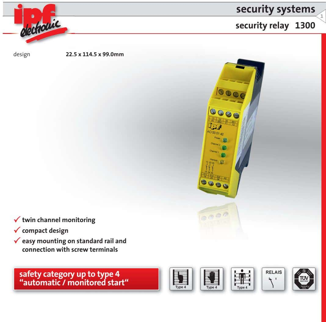 security systems 1 security relay 1300 design 22.5 x 114.5 x 99.0mm twin channel monitoring
