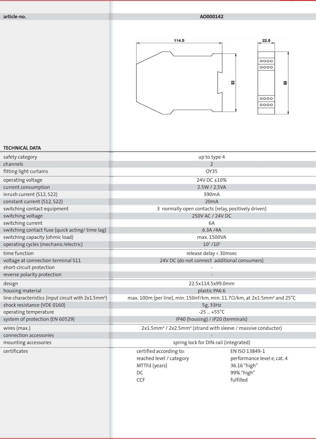 article-no. AO000142 TECHNICAL DATA safety category up to type 4 channels 2 fitting light curtains
