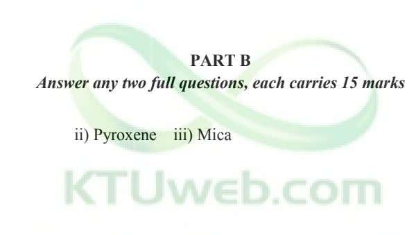PART B Answer any two full questions, each carries 15 marks ii) Pyroxene iii) Mica