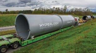 Construction of Passenger and Freight System in France The full-scale Hyperloop tubes ar- rive at the
