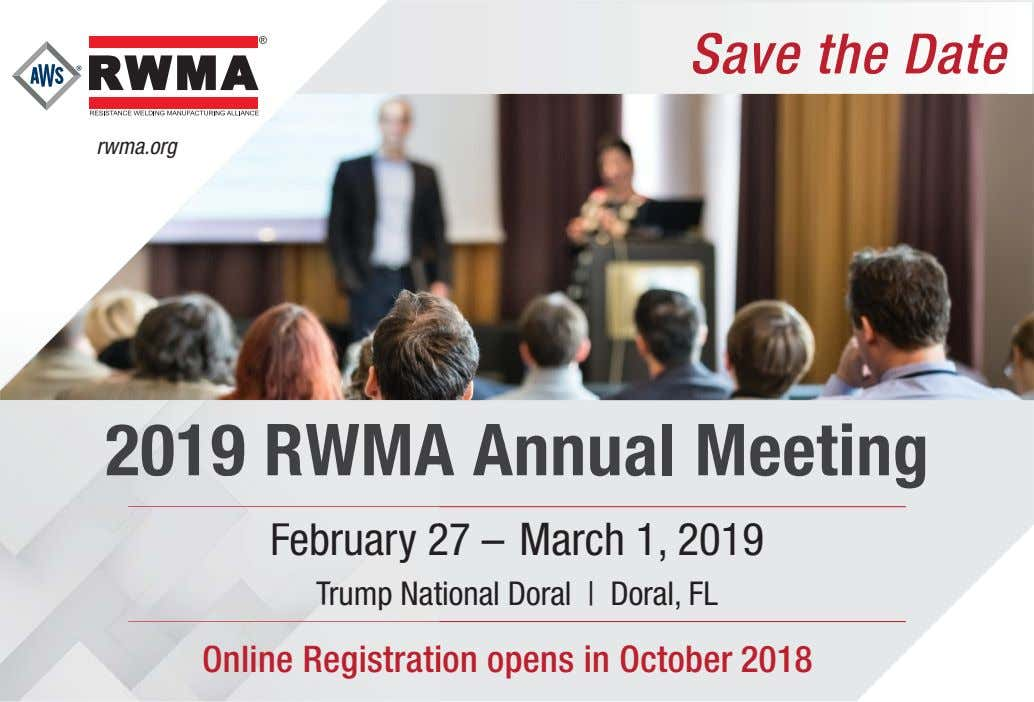 Sa ve the Date rwma.org 2019 RWMA A nnual Meeting February 2 7 – March