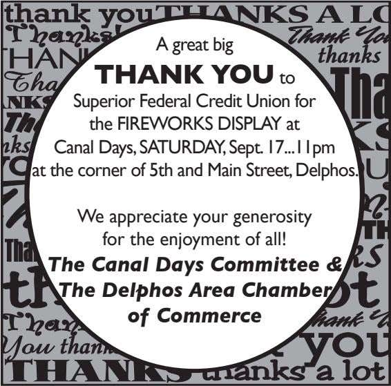 A great big THANK YOU to Superior Federal Credit Union for the FIREWORKS DISPLAY at Canal