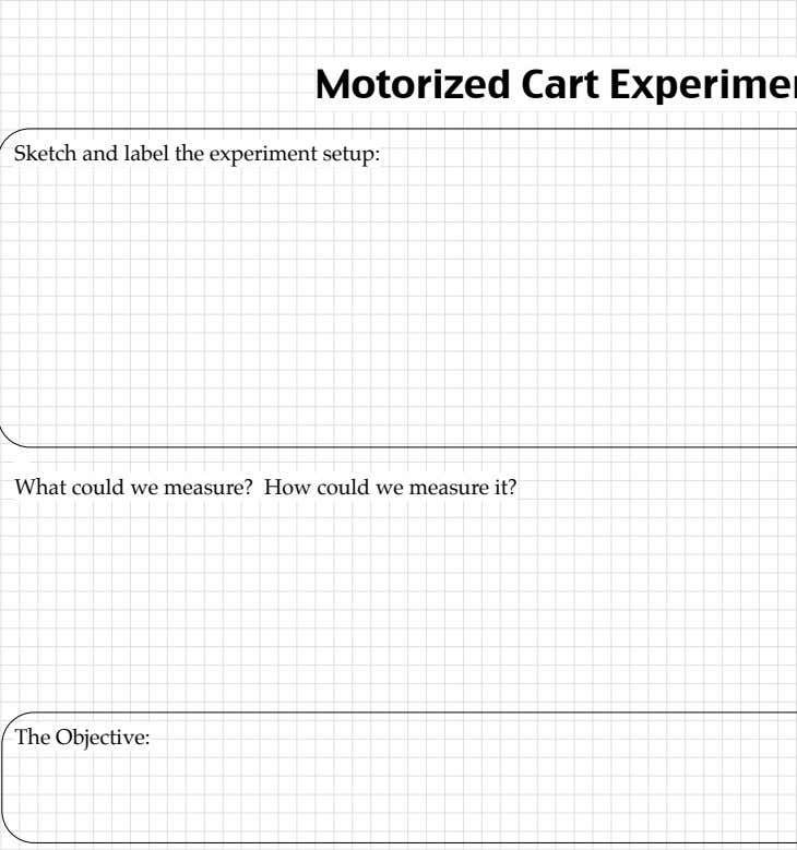 II / CVPM / Unit Physics! Motorized Cart Experiment Sketch and label the experiment setup: