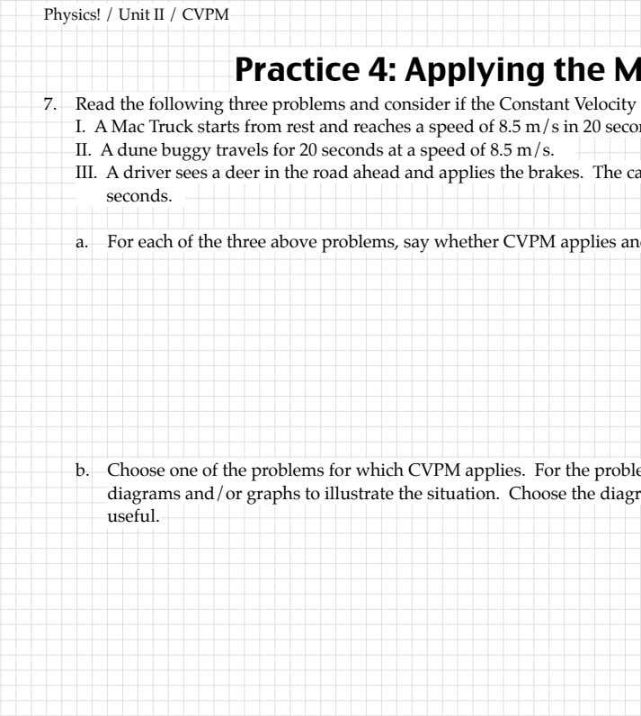 velocity Practice Read the following three problems and of the problems for – 11 – from