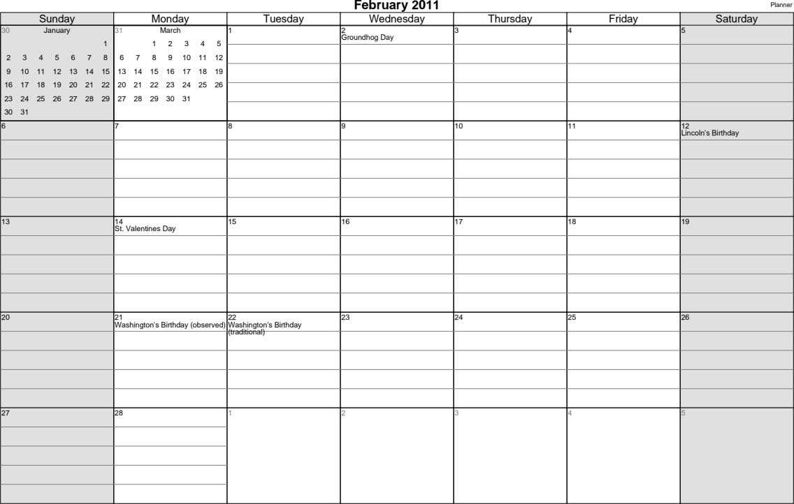 February 2011 Planner Sunday Monday Tuesday Wednesday Thursday Friday Saturday 30 January 31 March 1 2