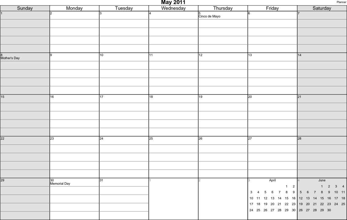 May 2011 Planner Sunday Monday Tuesday Wednesday Thursday Friday Saturday 1 2 3 4 5 6