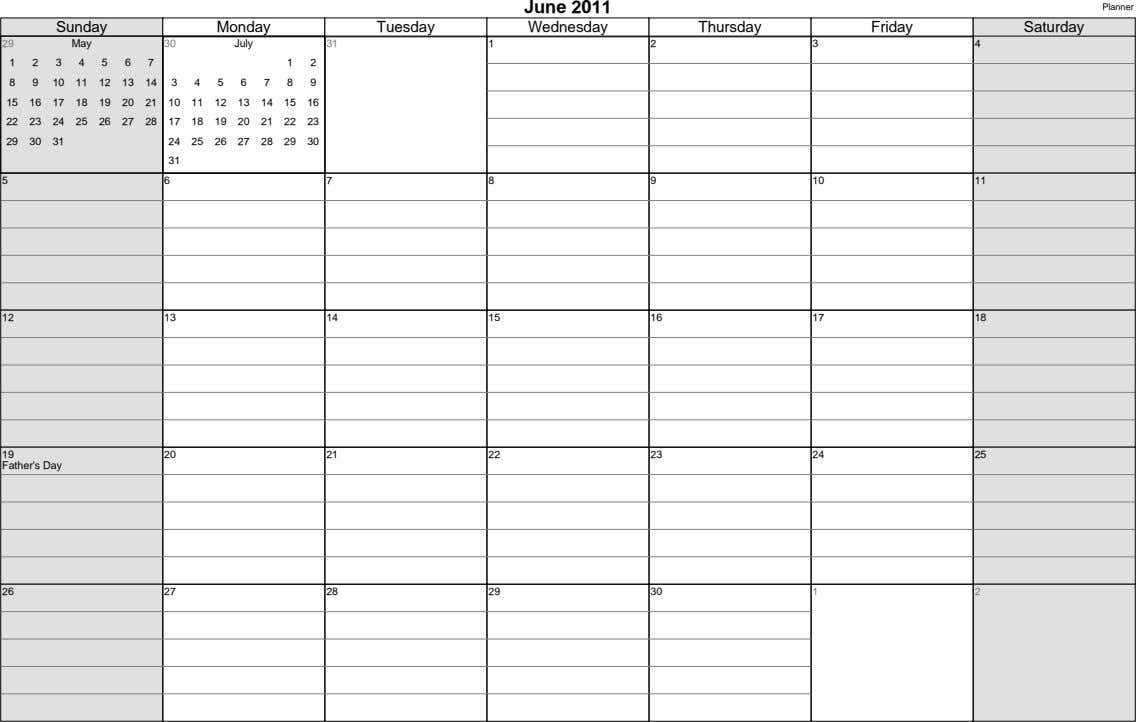 June 2011 Planner Sunday Monday Tuesday Wednesday Thursday Friday Saturday 29 May 30 July 31 1