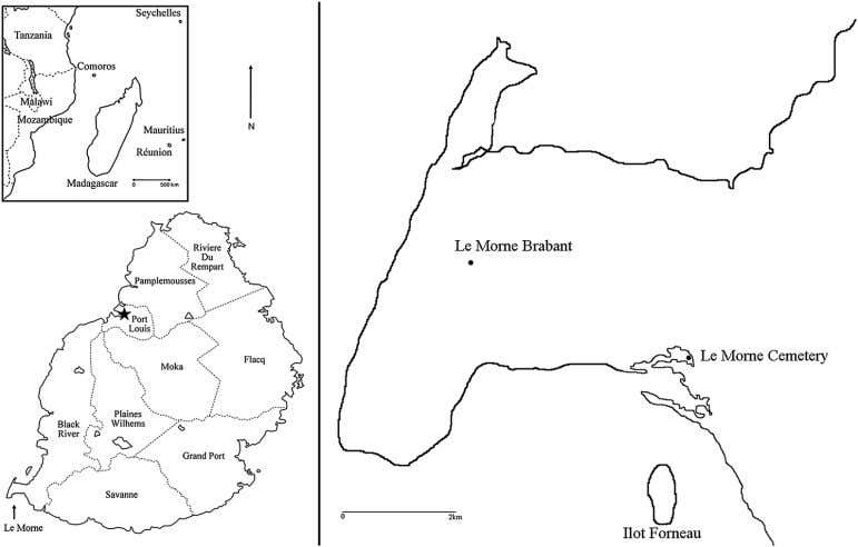 J. Appleby et al. Figure 1. Upper inset: Mauritius and surrounding islands in relation to eastern