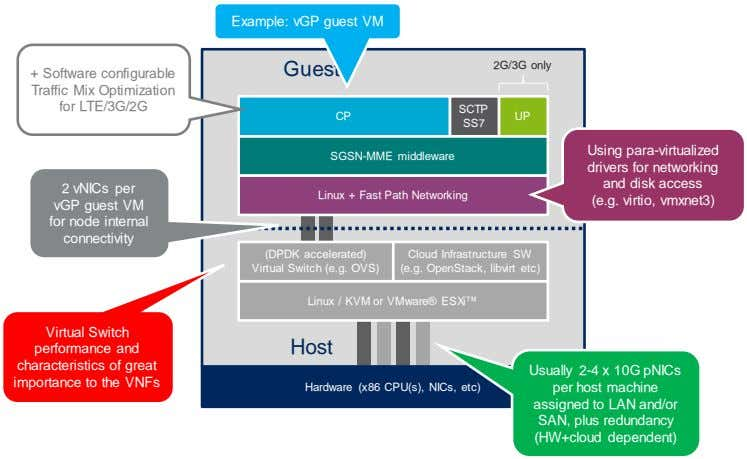 Example: vGP guest VM Guest 2G/3G only + Software configurable Traffic Mix Optimization for LTE/3G/2G