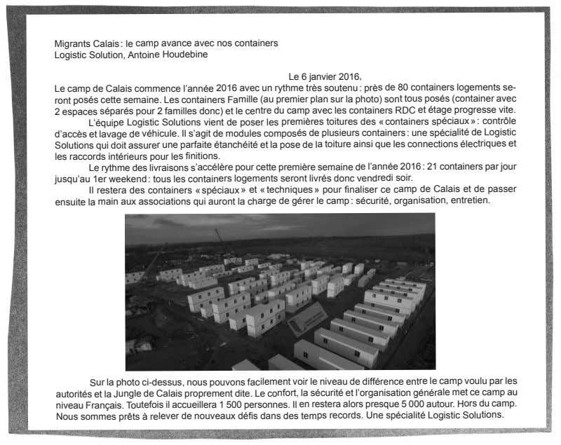 Migrants Calais : le camp avance avec nos containers Logistic Solution, Antoine Houdebine Le 6
