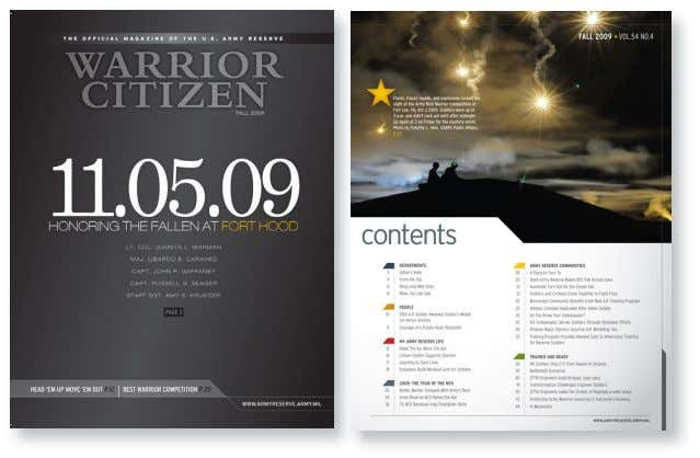 WARRIOR CITIZEN MAGAZINE BACKGROUND AND RECOMMENDATIONS FOR MOVING FORWARD Cover designs for the Fall 2009 Issue