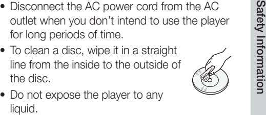 • Disconnect the AC power cord from the AC outlet when you don't intend to use