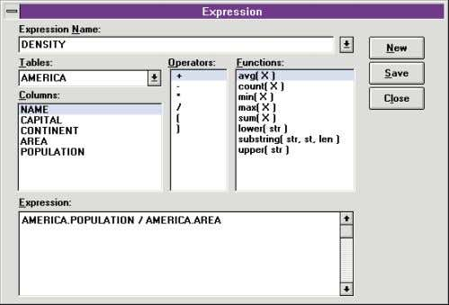 On The Cover Figure 8 (Top): The Expression dialog box of the Visual Query Builder can