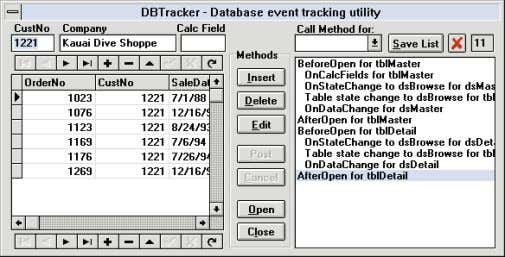 On The Cover Figure 4: The DBTracker utility in action. Using DBTracker The buttons in the