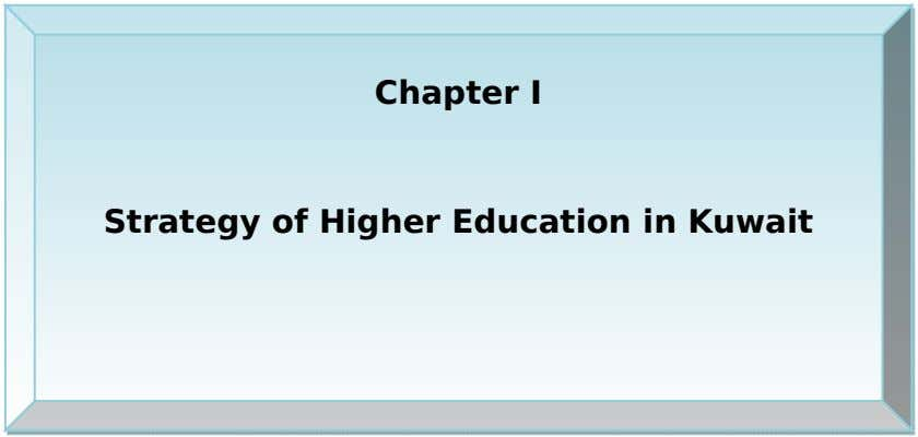 Chapter I Strategy of Higher Education in Kuwait