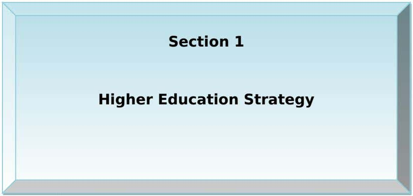 Section 1 Higher Education Strategy