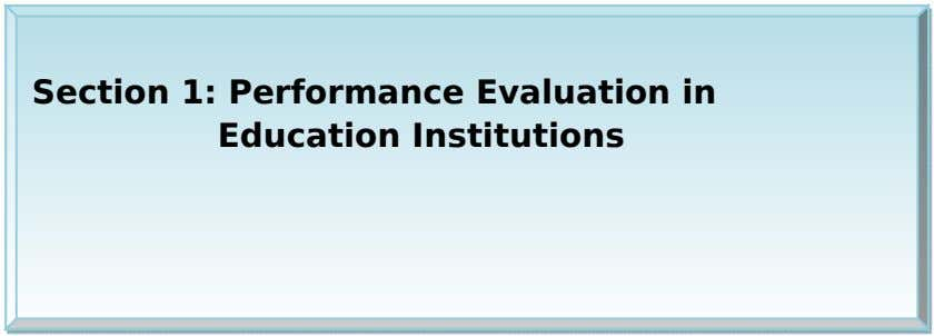 Section 1: Performance Evaluation in Education Institutions