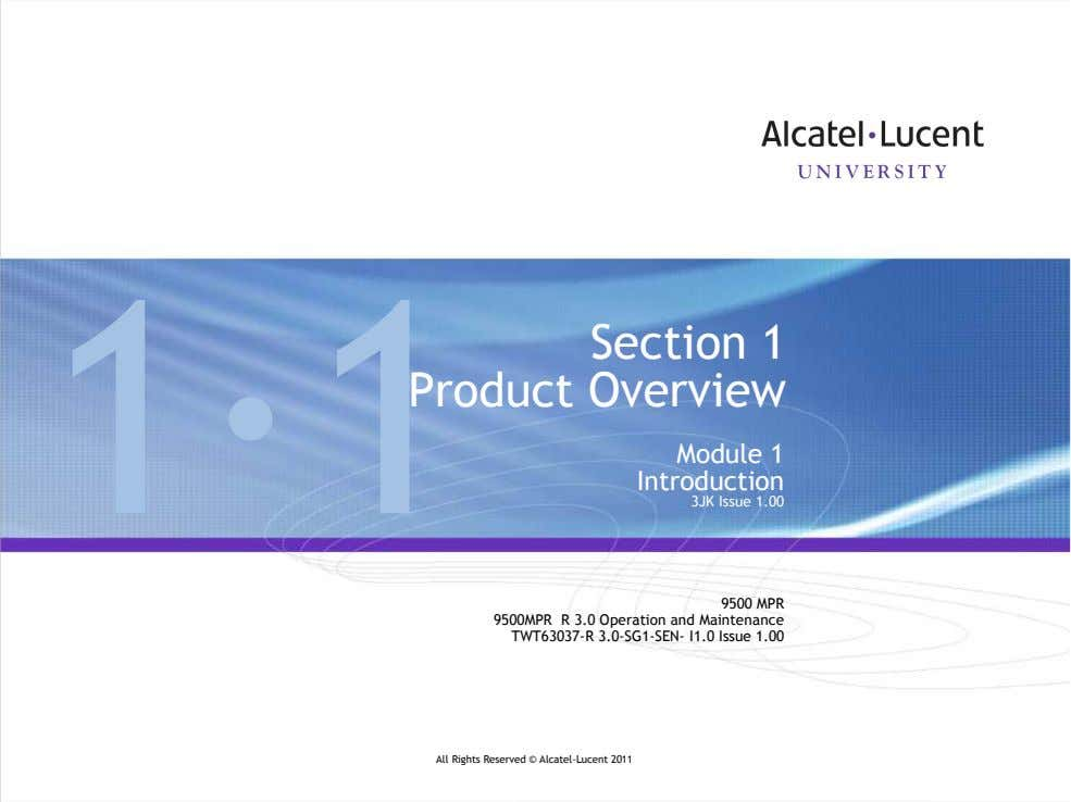 Do not delete this graphic elements in here: 1—1 Section 1 Product Overview Module 1