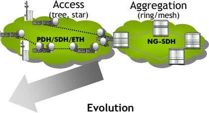 Access Aggregation (tree, star) (ring/mesh) PDH/SDH/ETH PDH/SDH/ETH NG-SDH NG-SDH Evolution