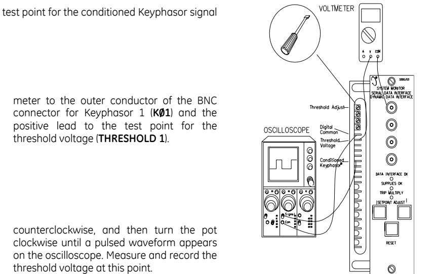test point for the conditioned Keyphasor signal Connect the common cable of a voltage meter