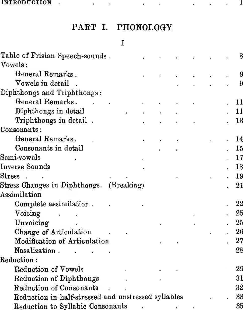 Introduction 1 . . . . PART I. PHONOLOGY I Table of Frisian Speech-sounds .