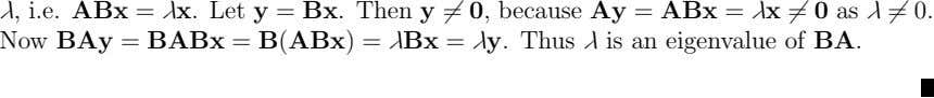 λ, i.e. ABx = λx. Let y = Bx. Then y = 0, because Ay