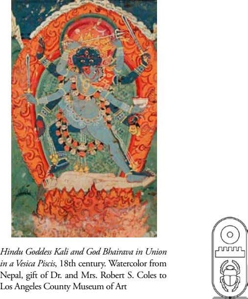 Hindu Goddess Kali and God Bhairava in Union in a Vesica Piscis, 18th century. Watercolor