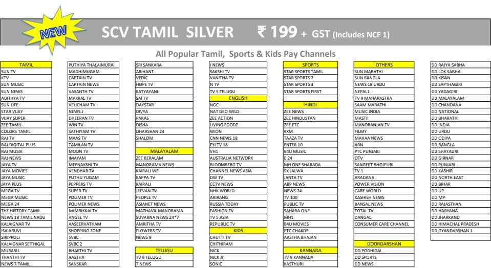 SCV TAMIL SILVER ₹ 199 + GST (Includes NCF 1) All Popular Tamil, Sports &