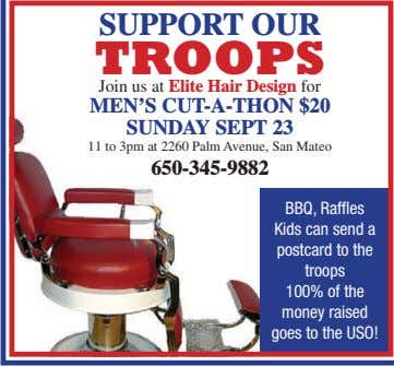 SUPPORT OUR TROOPS Join us at Elite Hair Design for MEN'S CUT-A-THON $20 SUNDAY SEPT