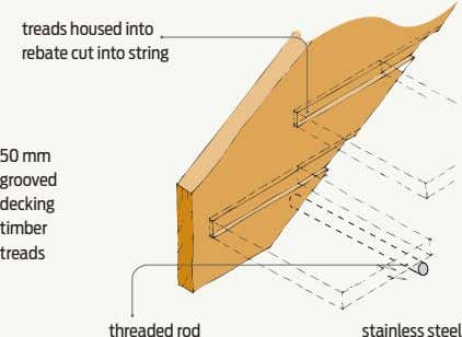 treads housed into rebate cut into string 50 mm grooved decking timber treads threaded rod