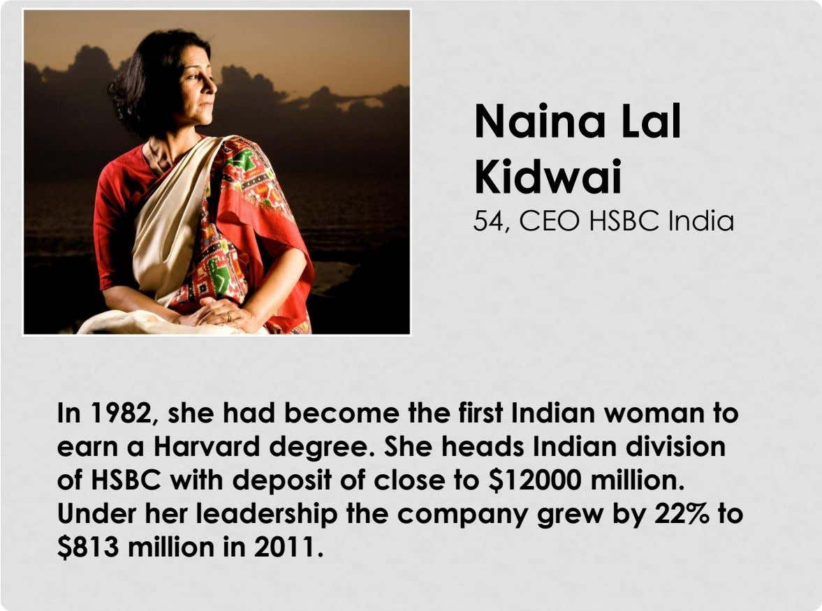 Naina Lal Kidwai 54, CEO HSBC India In 1982, she had become the first Indian woman